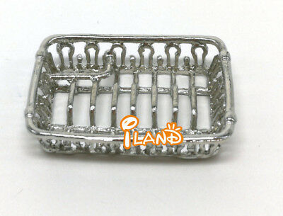 Dollhouse Miniature Kitchenware Dining Service Silver Dish Rack Metal DM004C