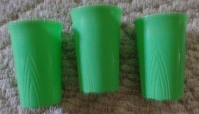 3 vintage Art Deco Stanley Home Neon Green Plastic Small Tumbler Drink Cups VGC