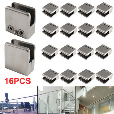 16 X Stainless Steel Glass Clamp Bracket Clip Holder for Balustrade Staircase
