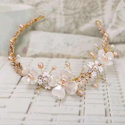 Bridal Flower Faux Pearl Rhinestone Wedding Headband Hair Clip Tiara Accessories