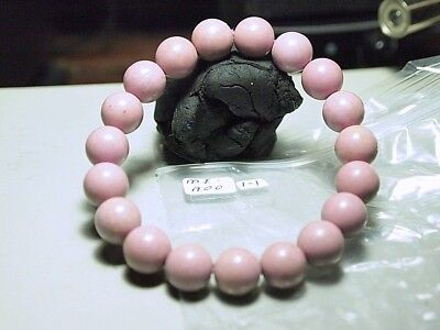 Bracelet Mica Pink Bead, 10x10mm beads,appx dia 2in ins, 3in out MI-A00