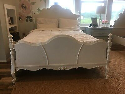 Antique Full Size Bed Solid Wood, Vintage, Country, Shabby Chic Style