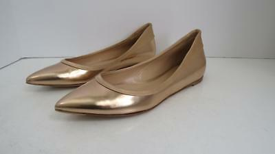 b1156cfd1179 Gianvito Rossi Rose Gold High Gloss Leather Pointy Toe Ballet Flats Shoes  36.5