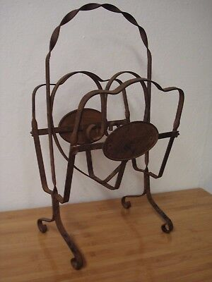 Antique wrought iron magazine stand rack vintage Spanish Revival Arts & Crafts