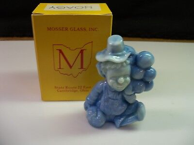 Hoagy Mosser Clown Collectible Figurine With Box - Light Blue Slag Glass
