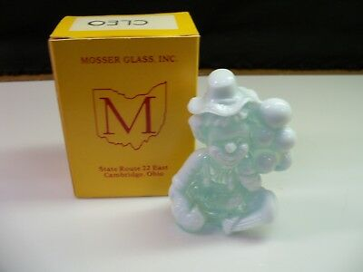 Cleo Mosser Clown Collectible Figurine With Box - Light Blue Heavy Opalescent