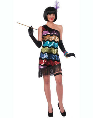 Adults Womens Sexy Rainbow Swanky Sequin Roaring 20s Flapper Dress Costume