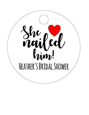 30 party favor tags wedding bridal shower she nailed him