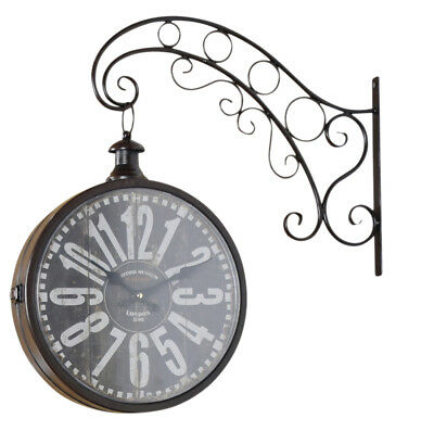 Wall Clock Metal Vintage Retro Watch Railway Station Shabby Cottage Antique Look
