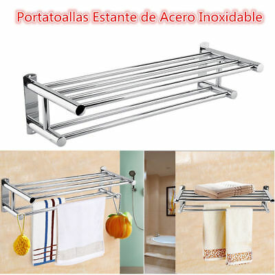 Moderno Doble Cromado de Pared Estante de Acero Inoxidable Para Toallas Toallero