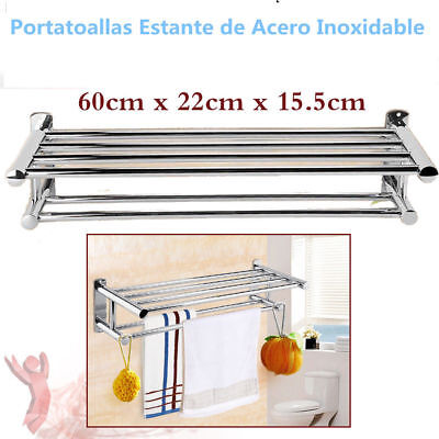 Portatoallas Doble Cromado de Pared Toallero Estante Acero Inoxidable Para Baño