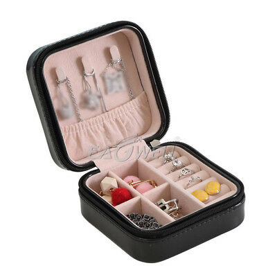 AU Mini Portable Travel Jewelry Box Organizer Leather Jewellery Ornaments Case