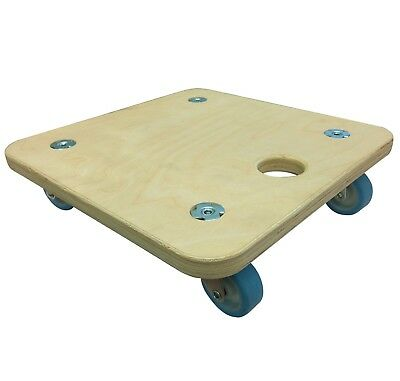Move It SQUARE SOFT WHEEL DOLLY 290x290mm 200kg Load Capacity, Light Wood/Blue