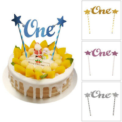Baby 1st Birthday Glitter Star Cake Toppers Straws Bunting Banner Party Decor