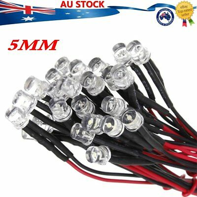 5mm 12V Single Flash Single Colour Pre-Wired LED Light Emitting Diode 20cm Cable
