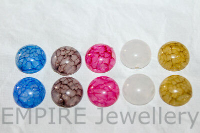 10 x Mixed Colours Crackled Resin Flatback 12x12mm Cabochon Cameo Dome