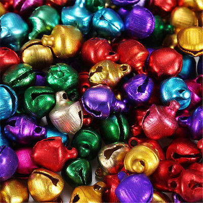 200 Pcs Mixed Color Aluminum Beads Christmas Jingle Bells Pendants Charms 6x8 mm