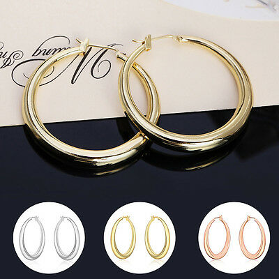 AM_ Women Girl Silver Gold Plated Big Loop Hoop Earrings Huggie Ear Jewelry Heal