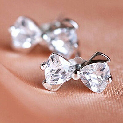 Am_ 1Pair Exceptional 925 Sterling Silver Bow Bowknot Zirconia Ear Stud Earring