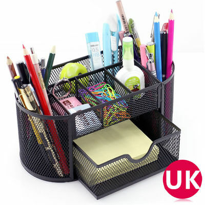 Metal Office Mesh Bin Desk Organizer Set Stationary Tidy Letter Trays Pen Holder