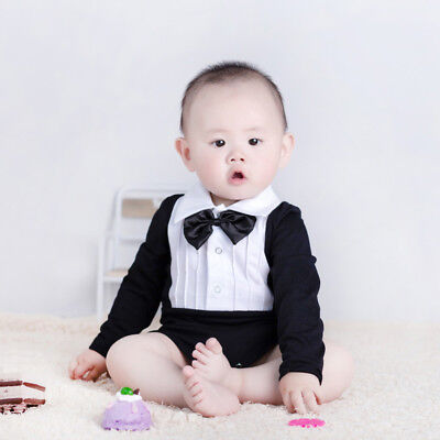 Cute Infant Baby Boys Bow Tie Long Sleeve Cotton Romper Jumpsuit Clothes Nice