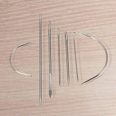 10X(7 Repair Sewing Needles Curved Threader for Leather Canvas Stainless S B3T2)