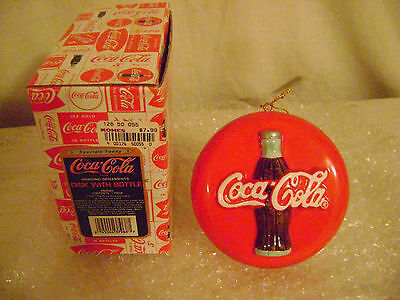 """Coca Cola Enesco""""Disk With Bottle"""" Ceramic Boxed Hanging Christmas Ornament 1997"""