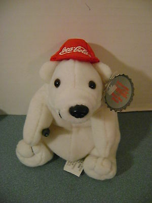 Coca Cola Bean Bag Plush Bear in Baseball Hat 1997 New + Tag Style #0111