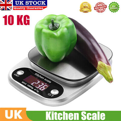 10kg Digital Kitchen Scales Stainless Steel Electronic LCD Cooking Weighing Food
