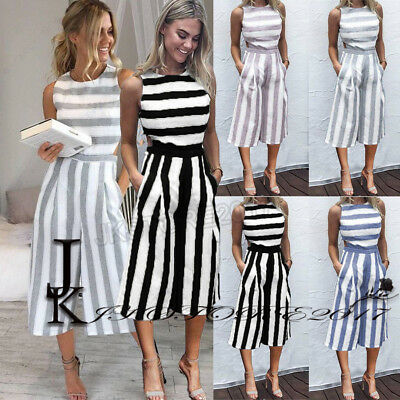 UK Boho Womens Striped Playsuit Long Jumpsuit Wide Leg Culotte Romper Dress 6-16