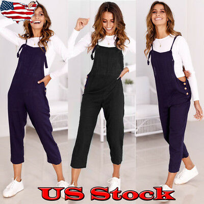 Women Casual Loose Pants Bib Jumpsuit Strap Harem Trousers Overalls Rompers Size