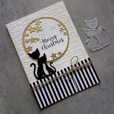 Shopaperartz Two Cute Cats Cutting Dies Birthday Christmas Cardmaking
