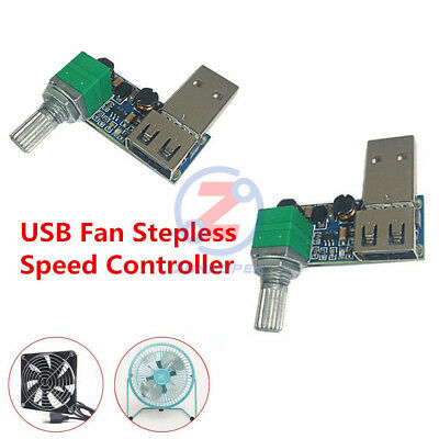 USB Fan Stepless Speed Controller Regulator Speed Variable Switch Module 5V-12V