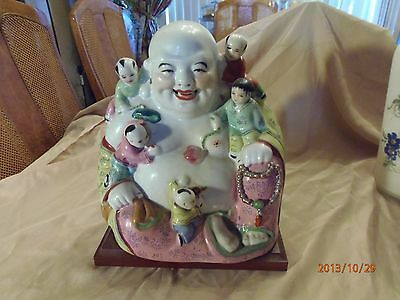 """Antique Porcelain Chinese Buddha with Children Estimated1880 194011""""tall by""""10w."""