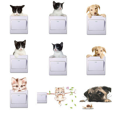 AM_ LK_ Cute Animals Dog Cat Removable Wall Switch Sticker Kids Room Decal Decor