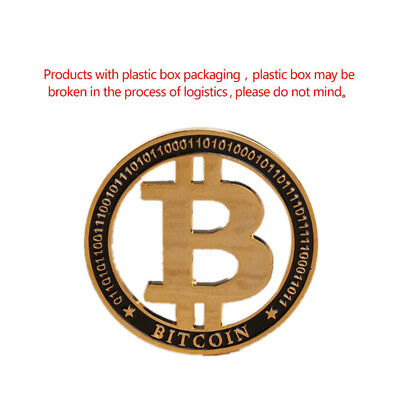 1 pcs Gold Plated Bitcoin Commemorative Round Collectors Coin Bit Coins Gift NEW
