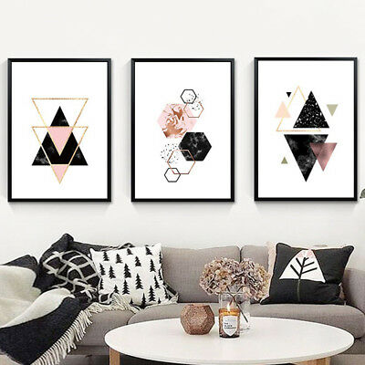 Am_ Nordic Geometric Wall Art Craft Canvas Painting Picture Home Decoration Clas