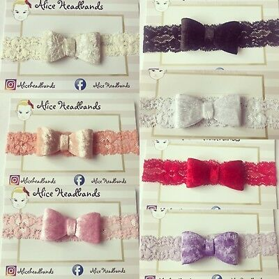 Velvet Bow Lace Bands Baby Girl Headband Toddler Hairband 6cm Soft Elastic + Lot