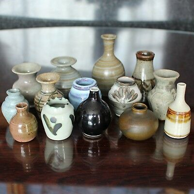 Selection of Unmarked/Unsigned Miniature Studio Pottery Vases Bottles
