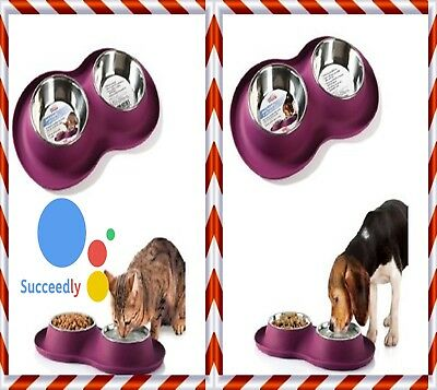 Stainless Steel Nonslip Pet Dog Cat Feeder Twin Silicon Pet Tray Food Water Bowl