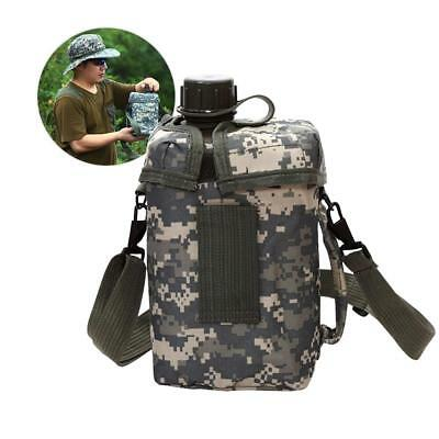 Large 2L Camouflage Kettle Outdoor Camping Hiking Survival Drinking Water Bottle