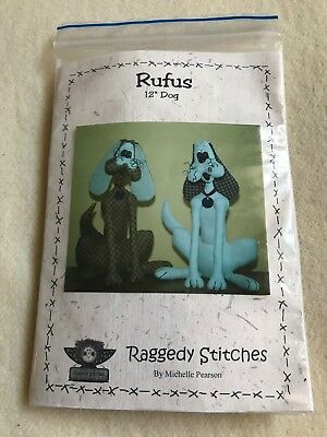 "Raggedy Stitches Michelle Pearson Rufus Dog 12"" toy sewing craft kit"