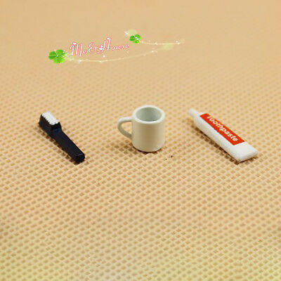 AM_ 3Pcs Mini Bathroom Toothbrush Toothpaste Cup Set for 1/6 1/12 Doll House Gre