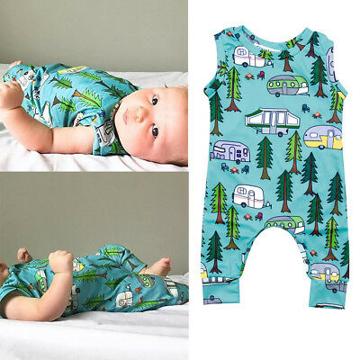 AM_ Baby Toddler Summer Forest Tree Car Sleeveless Romper Jumpsuit Playsuit Show