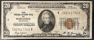 1929 $20.00 Nat'l Currency, The Federal Reserve Bank, Minneapolis, Minnesota!