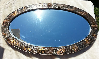 c1900 Art Nouveau Arts and Crafts Hammered Copper Beveled Mirror - Liberty & Co?