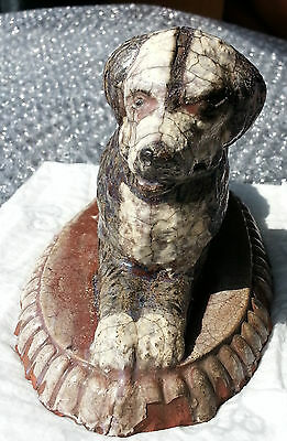 Extremely Rare Antique 19th Century Unusual Glazed Terracotta Dog - American?