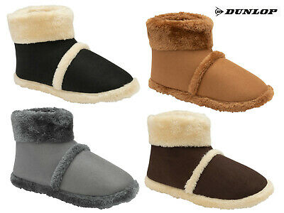 Mens Boot Slippers Brown Coolers Microsuede With Warm Collar & Lining