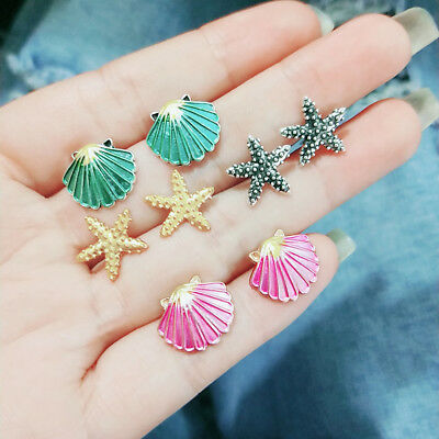 AM_ 4 Pairs Women Boho Starfish Shell Ear Stud Earrings Set Summer Jewelry Healt