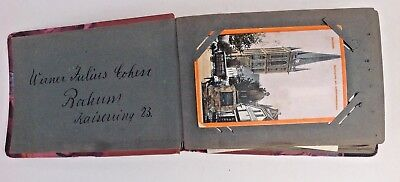Album of 96 Vintage Postcards Some With 8C German Stamps c1929 Collectable Decor